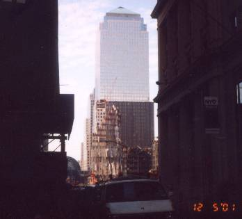 Another view of the remains of the World Trade Center looking from just off Broadway