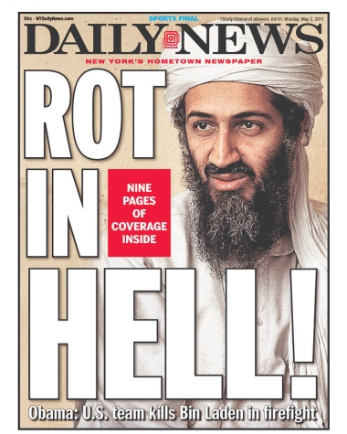 cover of NY Daily News newspaper of May 2, 2011