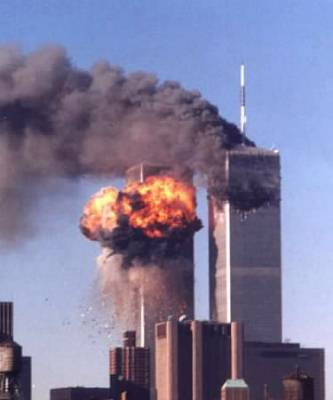 The World Trade Center in flames